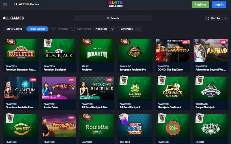 Slots and live games at Playmillion Casino Canada